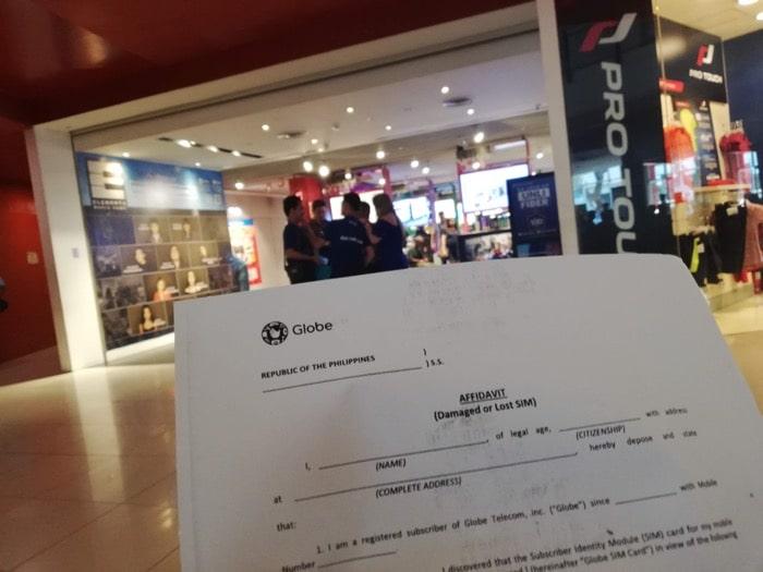 Globeショップで再発行用の書類入手
