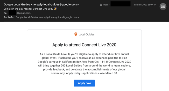 Googleからの招待メール