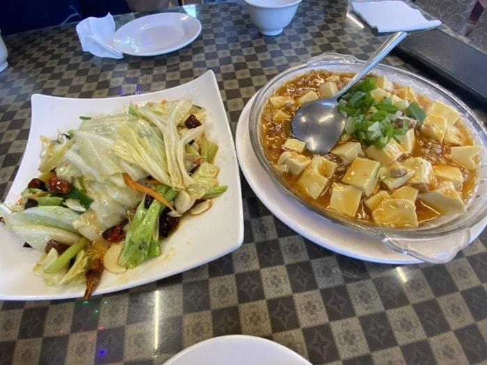 麻婆豆腐、キャベツ炒め